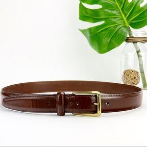 Coach Dress Belt Vintage USA Brown Leather Brass